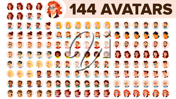 People Avatar Set Vector. Man, Woman. Human Emotions. Anonymous Male, Female. Icon Placeholder. Person Shilouette. User Portrait. Comic Emotions. Flat Handsome Manager Flat Cartoon Character Illustration