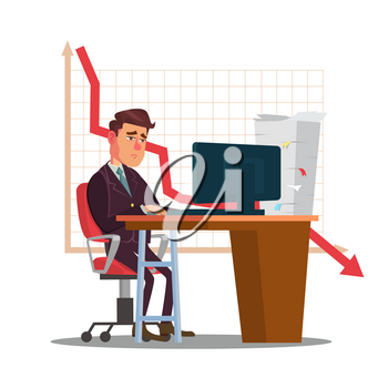 Unhappy Trader Man Vector. Trader Desk In Trader Room. Statistical Reports Spread. Investment Purposes. Isolated Flat Sad Cartoon Character