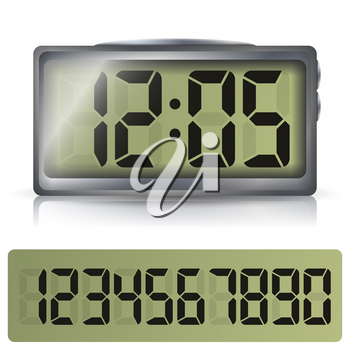 Alarm Digital Clock Vector. Black Numbers, Metallic Body. Illustration Isolated On White