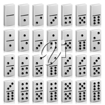 Domino Set Vector Realistic 3D Illustration. White Color. Full Classic Game Dominoes Isolated On White. Collection 28 Pieces