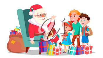 Santa Claus With Children Vector. Cheerful Kids. Winter Holidays. Happy. New Year Gifts. Banner, Flyer, Brochure Design. Isolated Cartoon Illustration