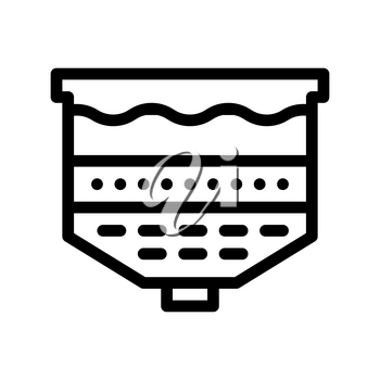 Water Treatment Filtration System Vector Icon Sign Thin Line. Water Treatment Factory Tool Linear Pictogram. Recycling Environmental Ecosystem Plumbing Industry Monochrome Contour Illustration