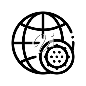 Microscopic Bacterium And Planet Vector Sign Icon Thin Line. Globe Universal Bacterium Linear Pictogram. Microbe Type Infection Biology Microorganism Contour Monochrome Illustration