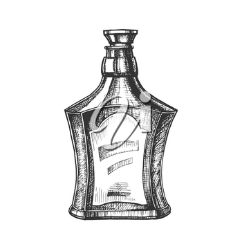 Drawn Scotch Bottle With Style Cork Cap Vector. Ink Design Sketch Bottle Of Traditional Alcoholic Scotland Drink. Concept Monochrome Flask With Blank Label Template Cartoon Illustration