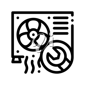 Conditioner System Repair Vector Thin Line Icon. Conditioner Technology Equipment Outdoor Unit Ventilator And Engineer Wrench Linear Pictogram. Air Conditioning Maintenance Contour Illustration