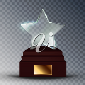 Modern Glass Trophy Award In Star Form Vector. Concept Of Glossy Trophy On Wooden Pedestal With Blank Golden Plate. Premium Prize Reward For Actor And Singer Template Realistic 3d Illustration