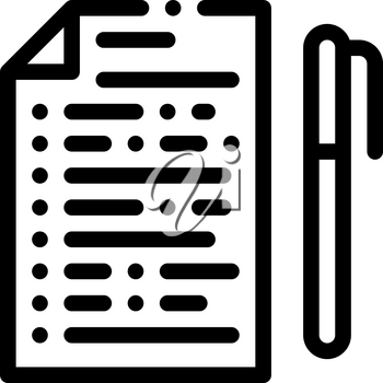 Voting Sheet with Pen Icon Vector. Outline Voting Sheet with Pen Sign. Isolated Contour Symbol Illustration