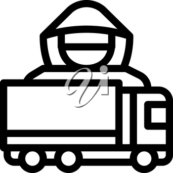 Driver Truck Concept Icon Vector. Outline Driver Truck Concept Sign. Isolated Contour Symbol Illustration