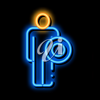 Strong Man With Shield neon light sign vector. Glowing bright icon Strong Man With Shield sign. transparent symbol illustration