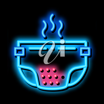 Smelly Diaper neon light sign vector. Glowing bright icon Smelly Diaper sign. transparent symbol illustration