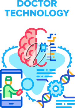 Doctor Technology Innovation Vector Icon Concept. Doctor Technology For Treatment Human Brain And Change Molecule, Hospital Innovative Tech. Distance Examination Patient Color Illustration