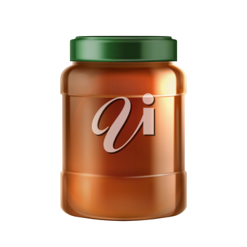 Chocolate Or Peanut Butter Blank Bottle Vector. Dairy Butter Product Jar Packaging, Groundnut Paste. Natural Bio Milk Grocery Production Fat Ingredient Mockup Realistic 3d Illustration