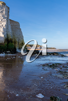 View of chalk cliffs at Botany Bay near Broadstairs in Kent