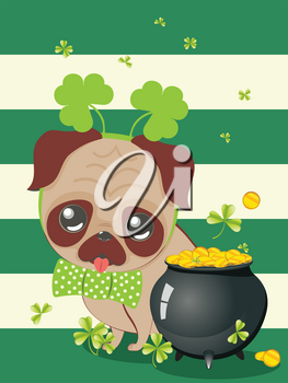 Cartoon kawaii pug with green shamrock design.