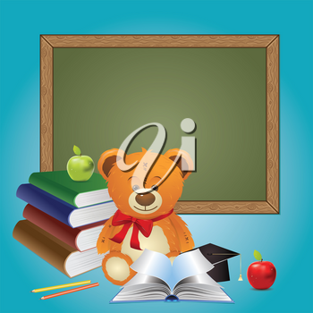 Cute teddy bear illustration with books, back to school background.