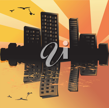 Sunset city silhouette abstract background