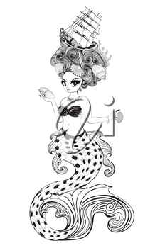 Fantasy mermaid with rococo hairstyle and seashells design.