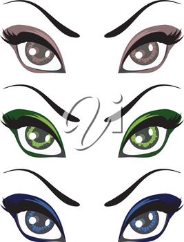 Collection of cartoon female eyes in different colors illustration.