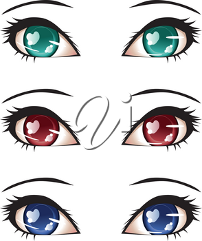 Set of stylized anime eyes of different colors.