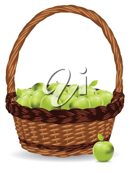 Fresh green apples in a basket on white background.
