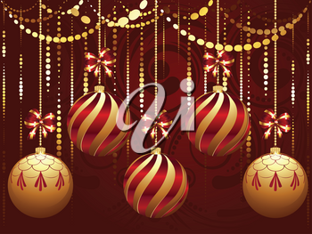 Colorful decorative Christmas golden balls, holiday ornaments.