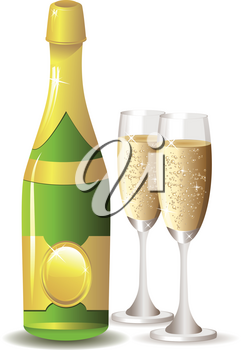 Two glasses of champagne and bottle on white background.