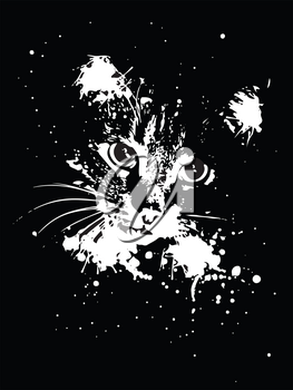 Abstract grunge portrait of a cat with ink splatters on black background.