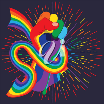 Raised clenched fist with ribbon in rainbow colors, fight for lgbt rights concept, retro design background.