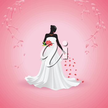 Silhouette of a bride holding big red rose on pink background.