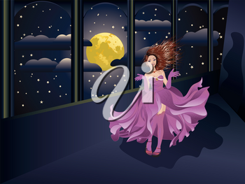 Fashion girl in flowing purple dress on balcony at night time.