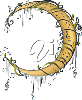 Stylized crescent moon with florals and music notes design.