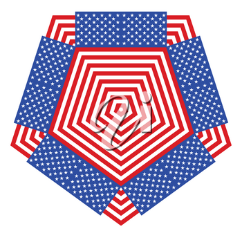 Red and white stripes and stars abstract geometric ornament design.