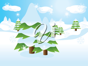 Two fir trees over snow landscape, cartoon background.