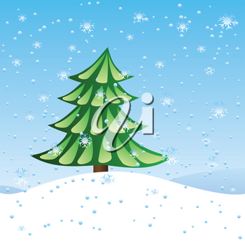 Winter holiday scene with green fir tree over blue snowing background.