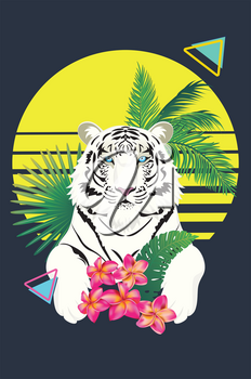 Abstract tiger with geometric elements and tropical plants, retro style illustration.