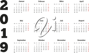 2019 year simple calendar on german language, isolated on white