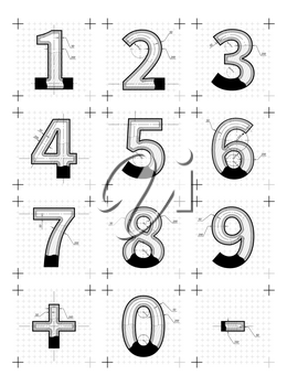 Architectural sketches of numbers. Blueprint style letters isolated on white.