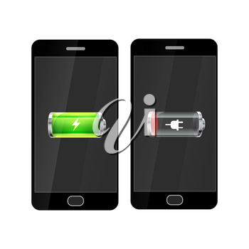 Black smartphones with full and empty glossy battery icons, isolated on white