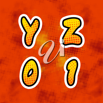 Bright colorful retro comics font with halftone pattern, vintage Y Z 0 1 latin letters on red background