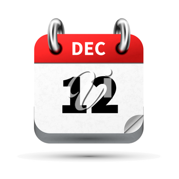 Bright realistic icon of calendar with 12 december date on white