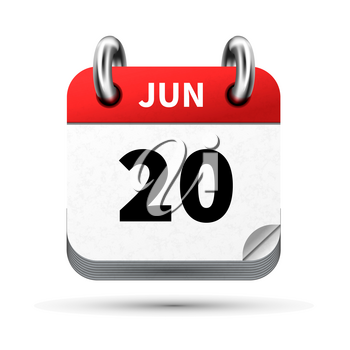 Bright realistic icon of calendar with 20 june date on white
