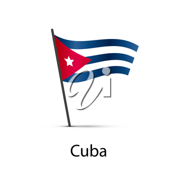 Cuba flag on pole, infographic element isolated on white