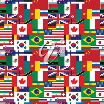 A lot of flags of world sovereign states seamless pattern