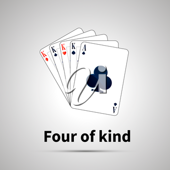 Four of kind poker combination with shadow on gray