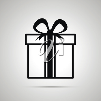 Gift simple black outline icon with shadow