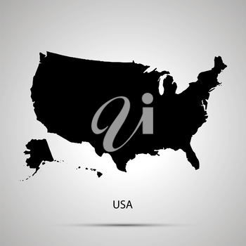 United states on America country map, simple black silhouette