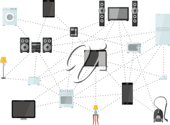 Net of house appliances on white, internet of things flat illustration