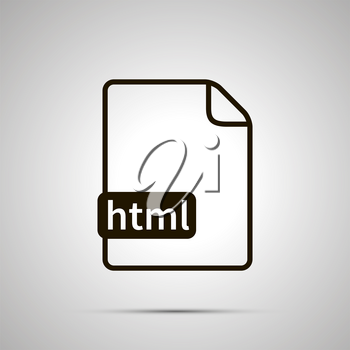 Simple black file icon with html extension on gray