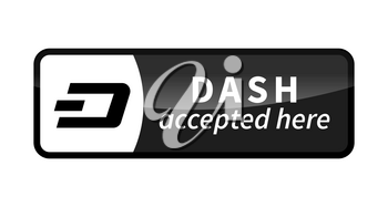 Dash accepted here, black glossy badge isolated on white