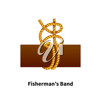 Fishermans Band sea knot. Bright colorful how-to guide isolated on white